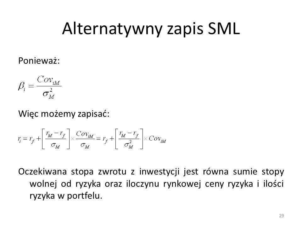 Alternatywny zapis SML Ponieważ: Więc możemy zapisać: Oczekiwana stopa zwrotu z inwestycji jest równa sumie stopy wolnej od ryzyka oraz iloczynu rynko