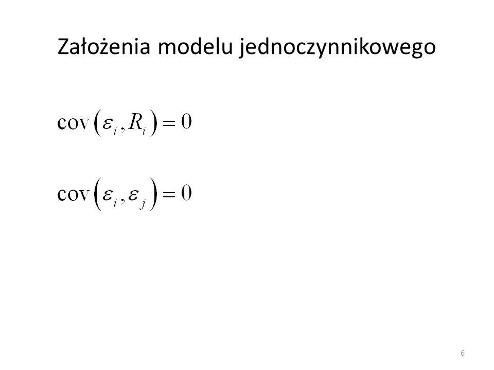Interpretacja modelu Sharpe'a Model Sharpe'a to model liniowej zależności stopy zwrotu akcji (portfela) od stopy zwrotu z portfela rynkowego (indeksowego).