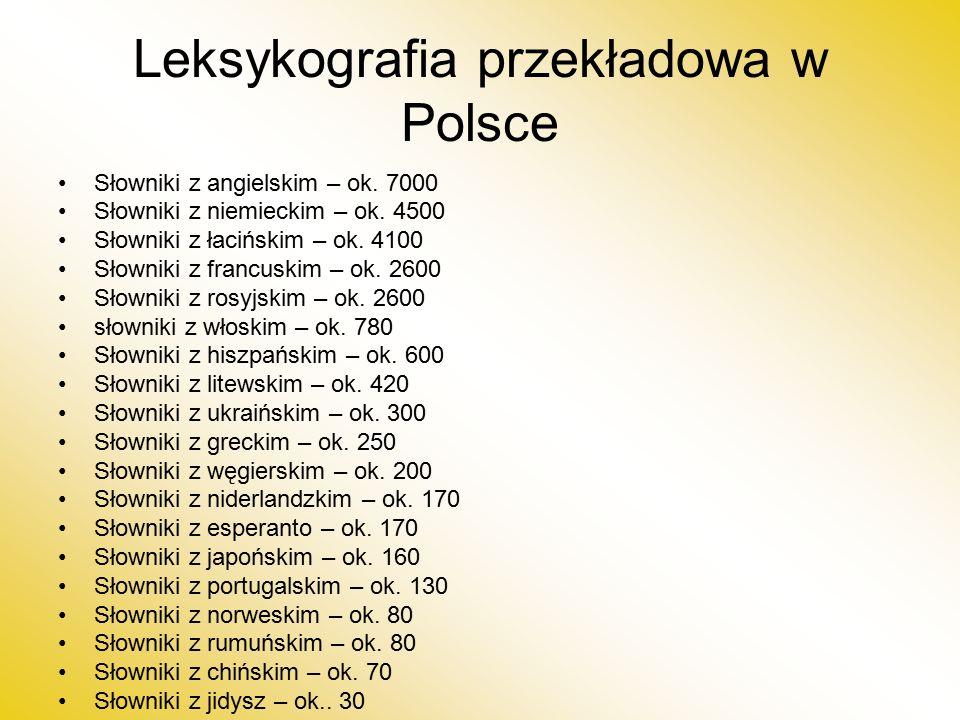 Leksykografia przekładowa w Polsce Słowniki z angielskim – ok.