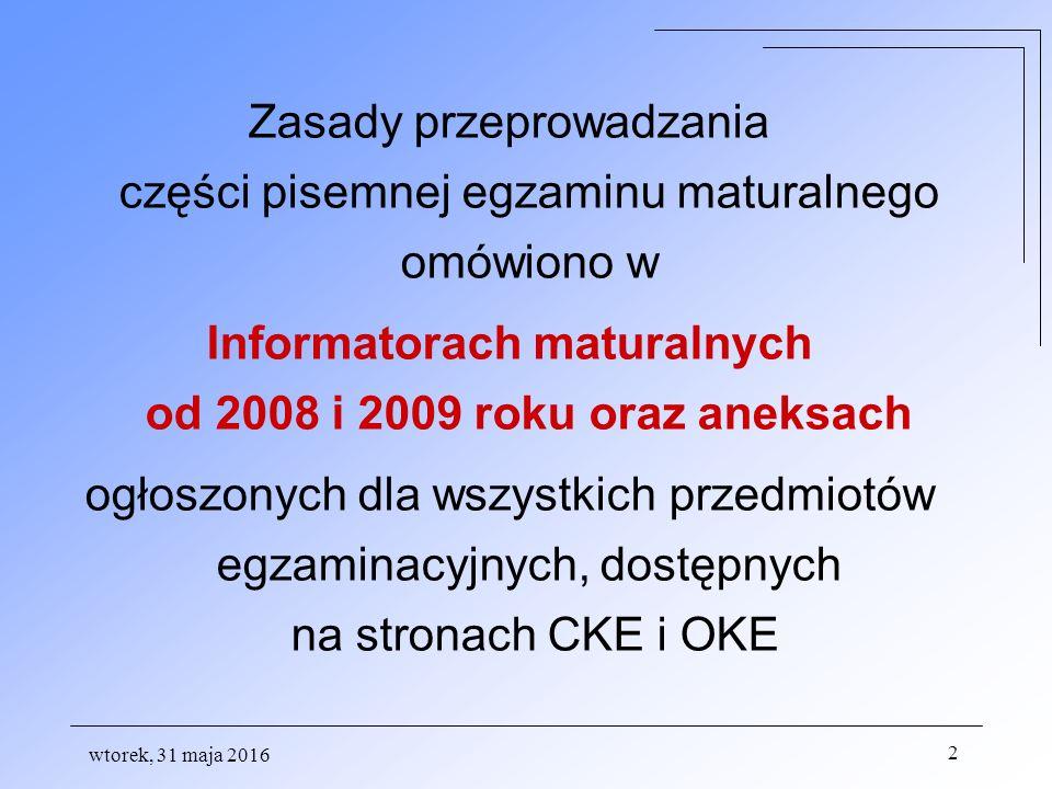 UNIEWAŻNIENIE EGZAMINU może nastąpić w przypadku: a)stwierdzenia niesamodzielnego rozwiązywania zadań egzaminacyjnych przez zdającego b)wniesienia przez zdającego do sali egzaminacyjnej urządzenia telekomunikacyjnego lub materiałów i przyborów pomocniczych nie wymienionych w wykazie dyrektora CKE albo korzystania z nich przez zdającego c) zakłócania przez zdającego prawidłowego przebiegu części ustnej lub pisemnej egzaminu w sposób utrudniający pracę pozostałym zdającym,
