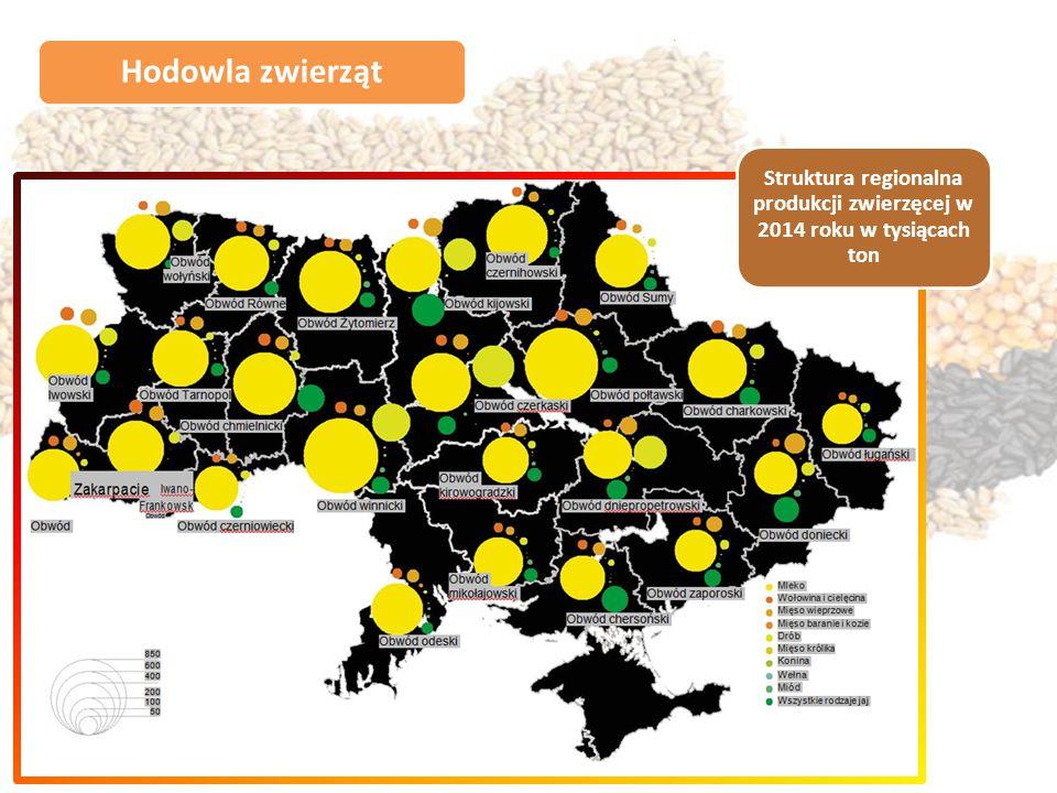 Hodowla zwierząt Struktura regionalna produkcji zwierzęcej w 2014 roku w tysiącach ton
