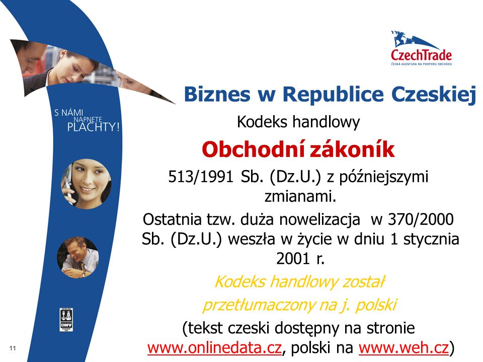 11 Biznes w Republice Czeskiej Kodeks handlowy Obchodní zákoník 513/1991 Sb. (Dz.U.) z późniejszymi zmianami. Ostatnia tzw. duża nowelizacja w 370/200