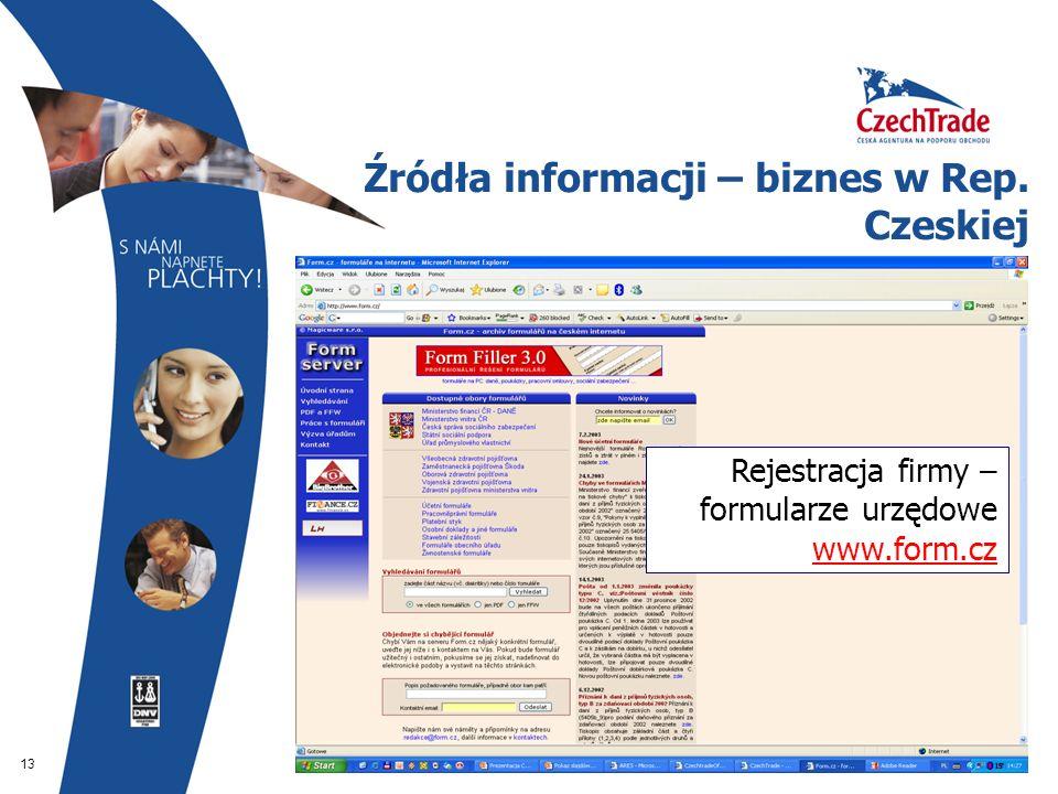 13 Źródła informacji – biznes w Rep. Czeskiej Rejestracja firmy – formularze urzędowe www.form.cz www.form.cz