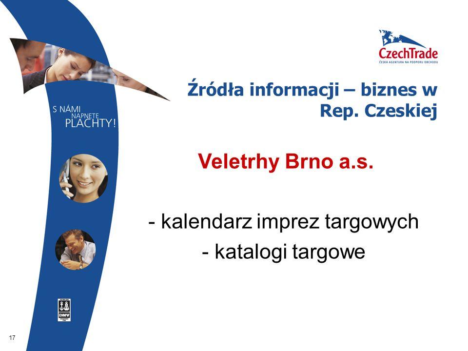 17 Źródła informacji – biznes w Rep. Czeskiej  Veletrhy Brno a.s. - kalendarz imprez targowych - katalogi targowe
