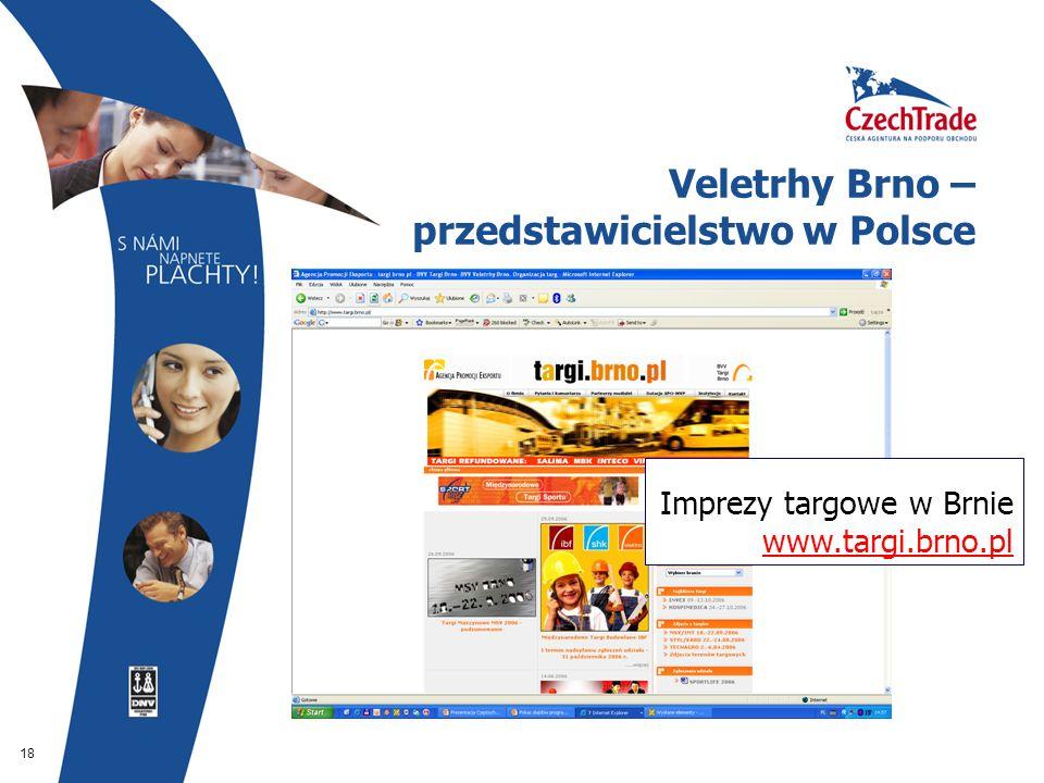 18 Veletrhy Brno – przedstawicielstwo w Polsce Imprezy targowe w Brnie www.targi.brno.pl www.targi.brno.pl