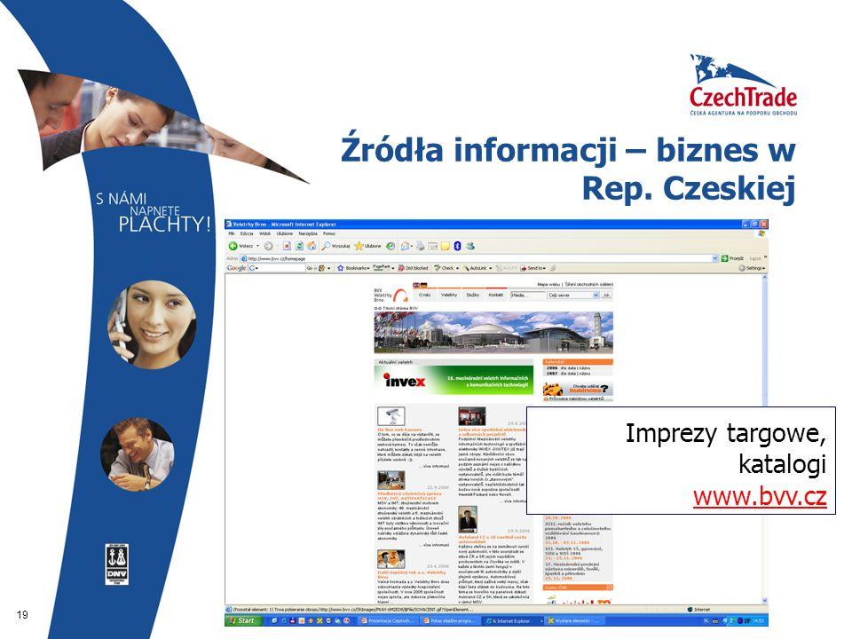 19 Źródła informacji – biznes w Rep. Czeskiej Imprezy targowe, katalogi www.bvv.cz www.bvv.cz