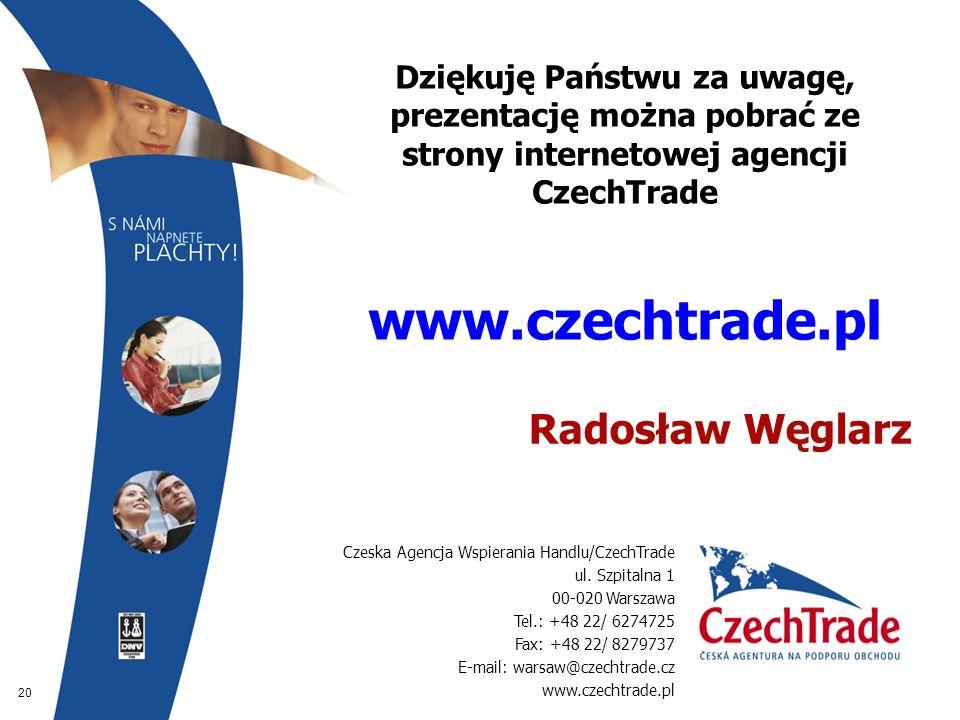 20 Dziękuję Państwu za uwagę, prezentację można pobrać ze strony internetowej agencji CzechTrade www.czechtrade.pl  Radosław Węglarz Czeska Agencja W
