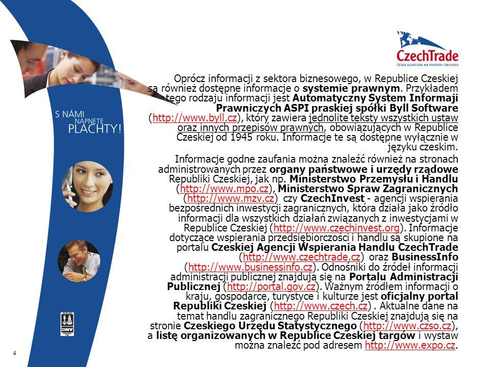 4  Oprócz informacji z sektora biznesowego, w Republice Czeskiej są również dostępne informacje o systemie prawnym. Przykładem tego rodzaju informacj