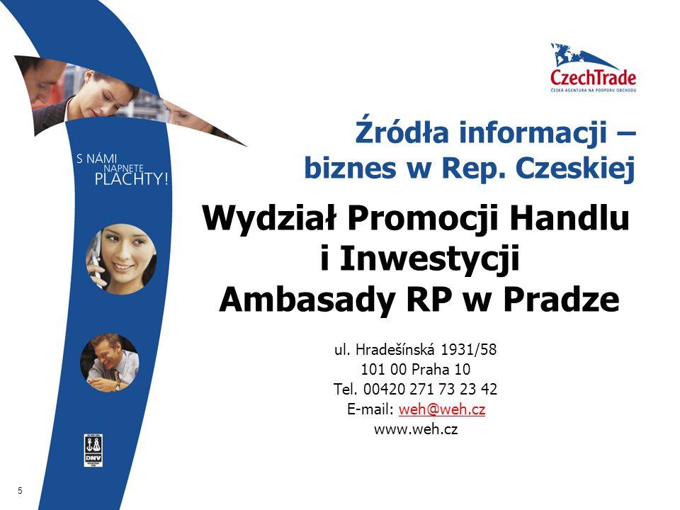 5 Źródła informacji – biznes w Rep. Czeskiej Wydział Promocji Handlu i Inwestycji Ambasady RP w Pradze ul. Hradešínská 1931/58 101 00 Praha 10 Tel. 00