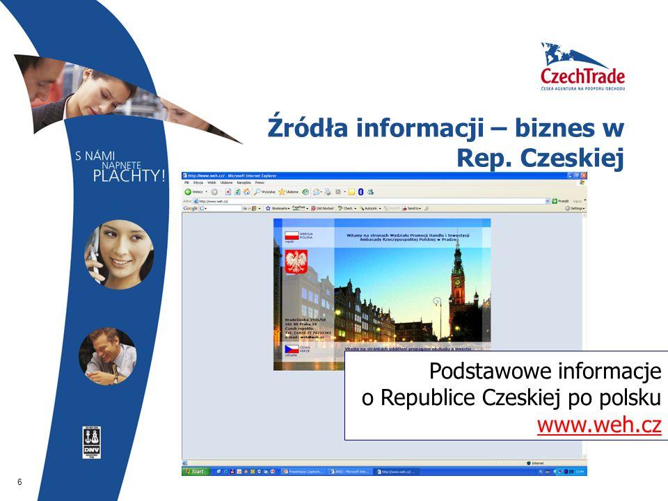 6 Źródła informacji – biznes w Rep. Czeskiej Podstawowe informacje o Republice Czeskiej po polsku www.weh.cz www.weh.cz
