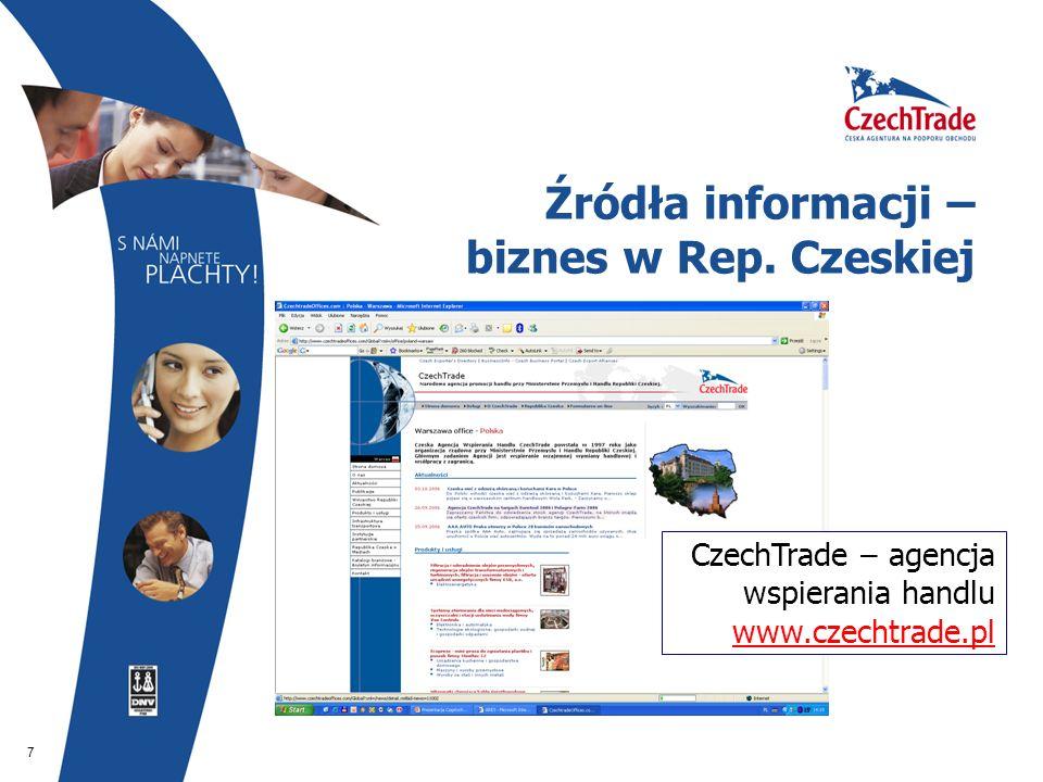 7 Źródła informacji – biznes w Rep. Czeskiej CzechTrade – agencja wspierania handlu www.czechtrade.pl www.czechtrade.pl