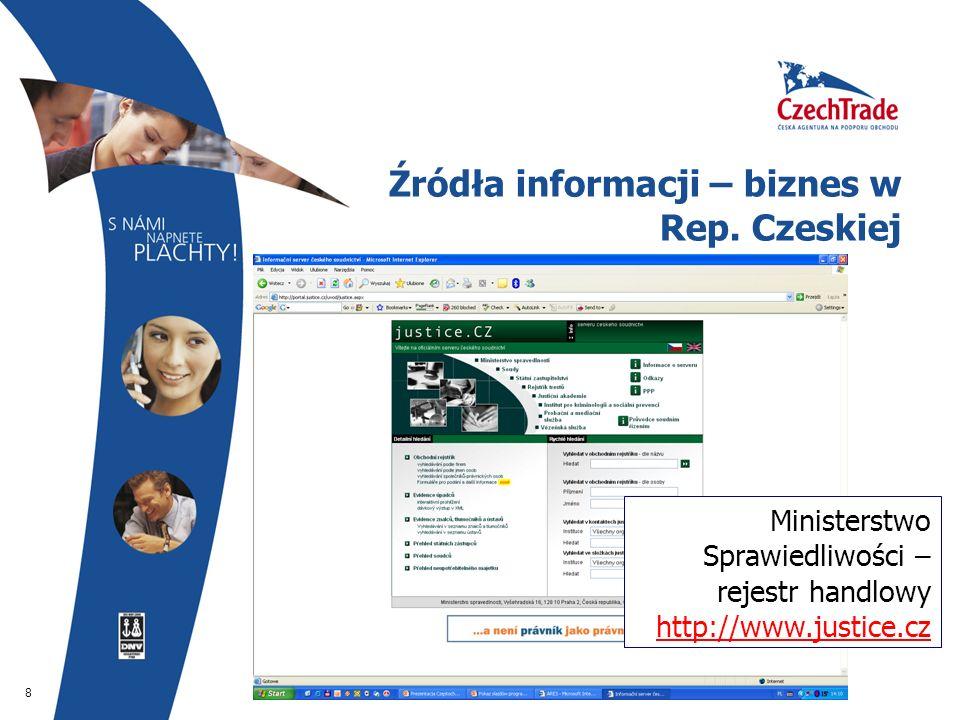 8 Źródła informacji – biznes w Rep. Czeskiej Ministerstwo Sprawiedliwości – rejestr handlowy http://www.justice.cz http://www.justice.cz