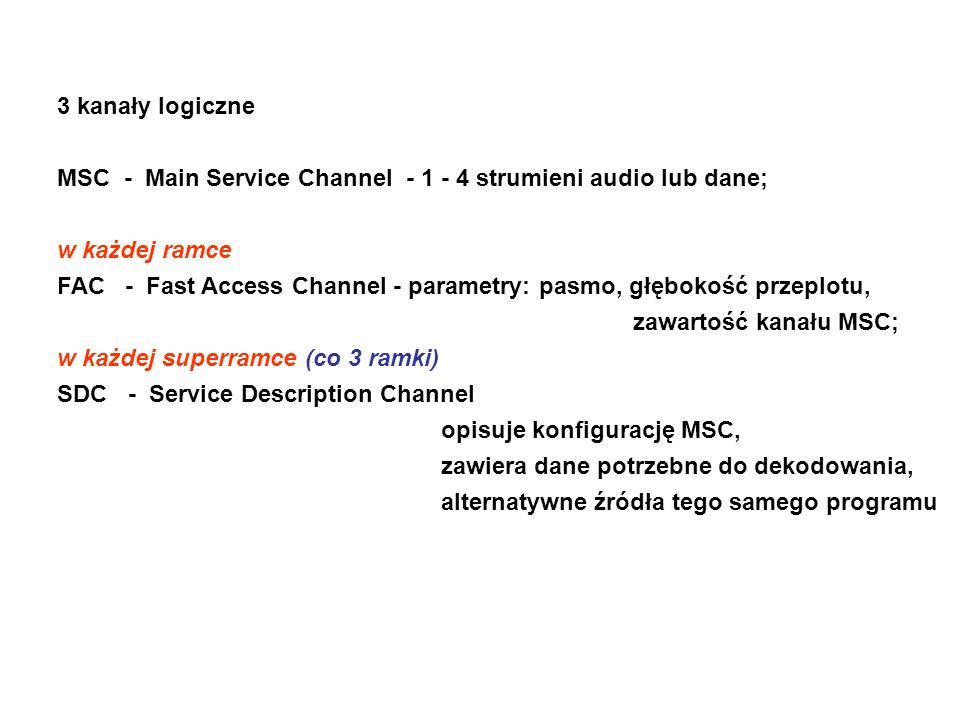 3 kanały logiczne MSC - Main Service Channel - 1 - 4 strumieni audio lub dane; w każdej ramce FAC - Fast Access Channel - parametry: pasmo, głębokość przeplotu, zawartość kanału MSC; w każdej superramce (co 3 ramki) SDC - Service Description Channel opisuje konfigurację MSC, zawiera dane potrzebne do dekodowania, alternatywne źródła tego samego programu