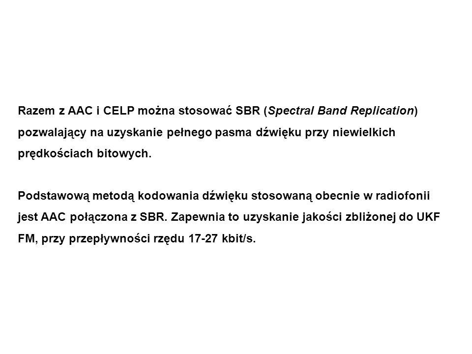 Razem z AAC i CELP można stosować SBR (Spectral Band Replication) pozwalający na uzyskanie pełnego pasma dźwięku przy niewielkich prędkościach bitowych.