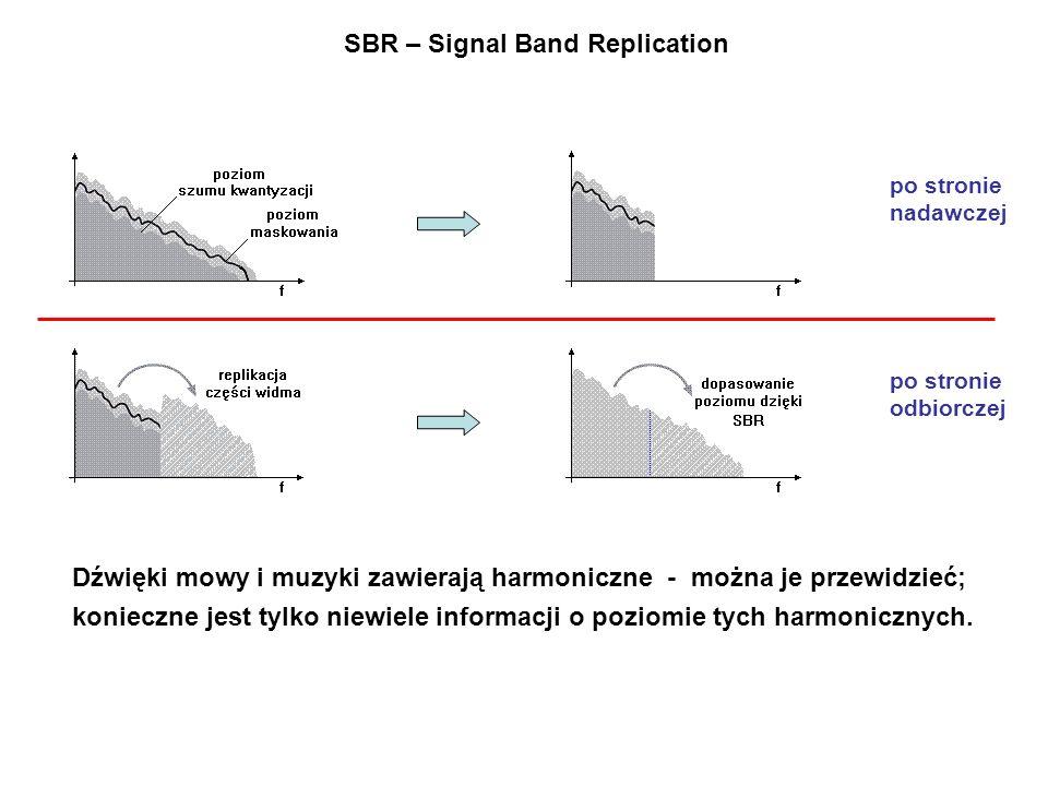 SBR – Signal Band Replication po stronie nadawczej po stronie odbiorczej Dźwięki mowy i muzyki zawierają harmoniczne - można je przewidzieć; konieczne jest tylko niewiele informacji o poziomie tych harmonicznych.