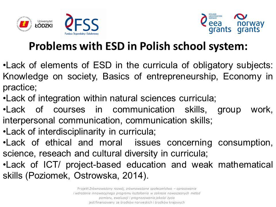 Problems with ESD in Polish school system: Projekt Zrównoważony rozwój, zrównoważone społeczeństwo – opracowanie i wdrożenie innowacyjnego programu ks