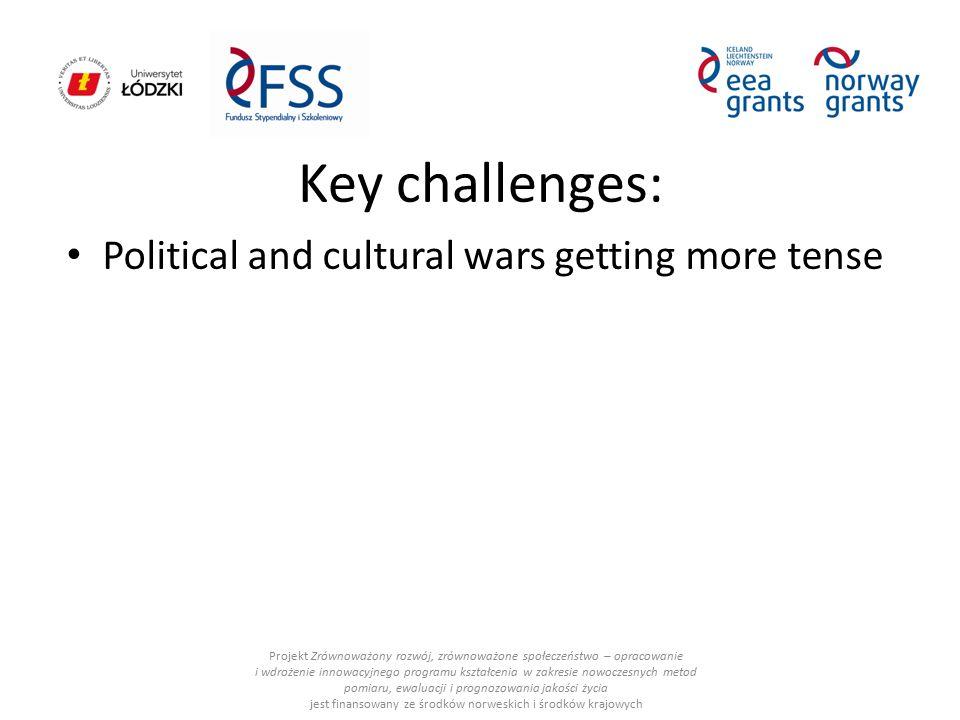 Key challenges: Political and cultural wars getting more tense Projekt Zrównoważony rozwój, zrównoważone społeczeństwo – opracowanie i wdrożenie innow