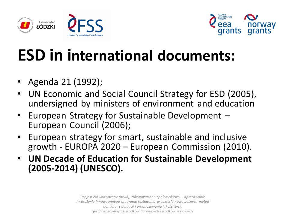 ESD in i nternational documents: Projekt Zrównoważony rozwój, zrównoważone społeczeństwo – opracowanie i wdrożenie innowacyjnego programu kształcenia