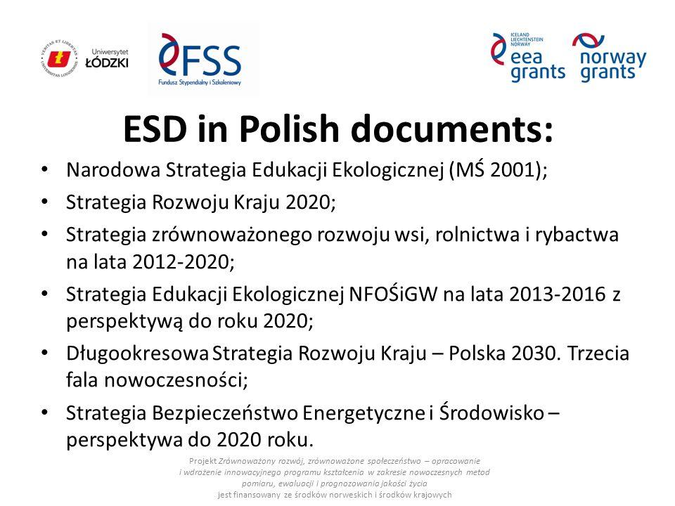 ESD in Polish documents: Narodowa Strategia Edukacji Ekologicznej (MŚ 2001); Strategia Rozwoju Kraju 2020; Strategia zrównoważonego rozwoju wsi, rolni