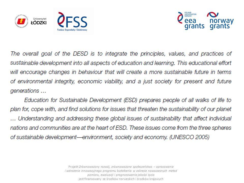 ESD: Projekt Zrównoważony rozwój, zrównoważone społeczeństwo – opracowanie i wdrożenie innowacyjnego programu kształcenia w zakresie nowoczesnych metod pomiaru, ewaluacji i prognozowania jakości życia jest finansowany ze środków norweskich i środków krajowych