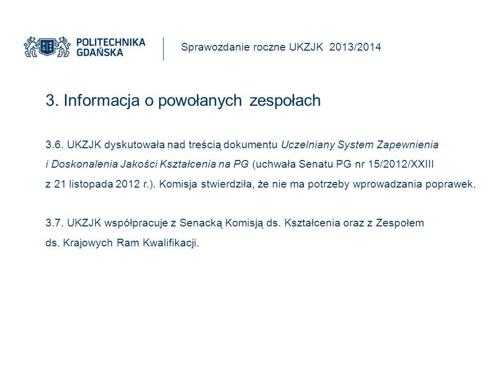 3. Informacja o powołanych zespołach Sprawozdanie roczne UKZJK 2013/2014 3.6.