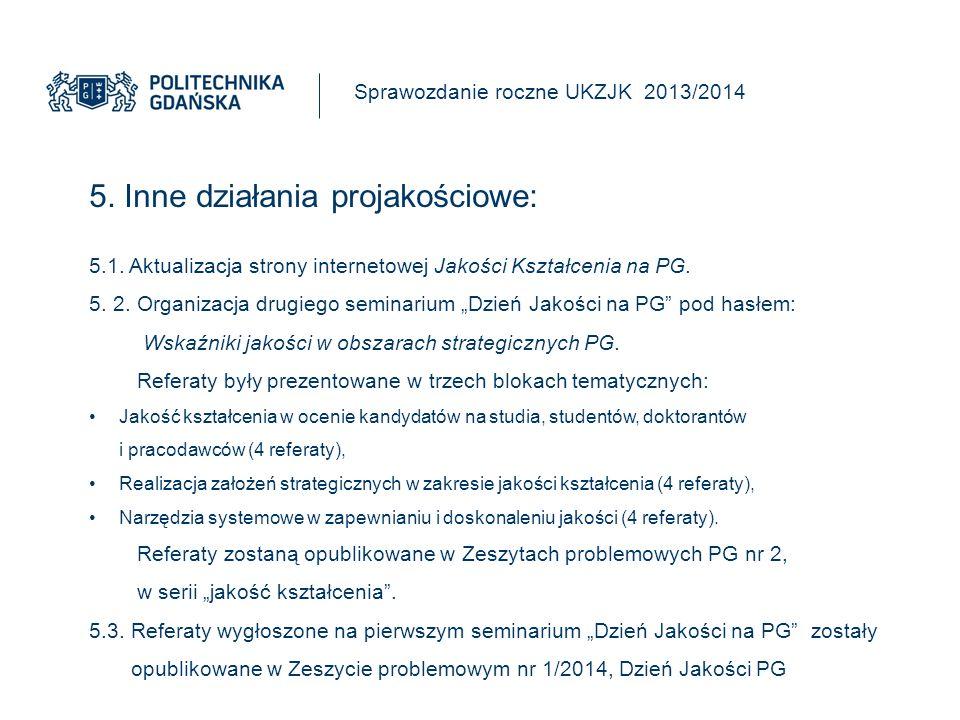 5. Inne działania projakościowe: Sprawozdanie roczne UKZJK 2013/2014 5.1.
