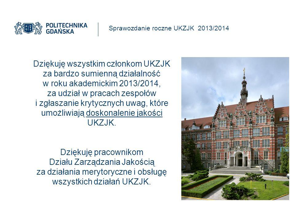 Dziękuję wszystkim członkom UKZJK za bardzo sumienną działalność w roku akademickim 2013/2014, za udział w pracach zespołów i zgłaszanie krytycznych uwag, które umożliwiają doskonalenie jakości UKZJK.