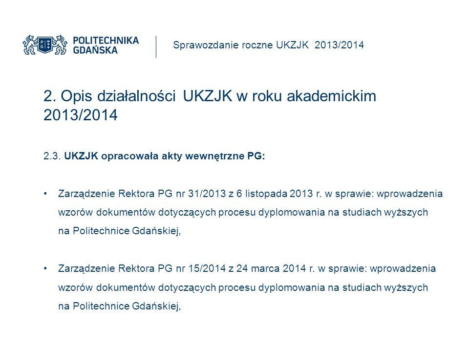 2.Opis działalności UKZJK w roku akademickim 2013/2014 Sprawozdanie roczne UKZJK 2013/2014 2.3.