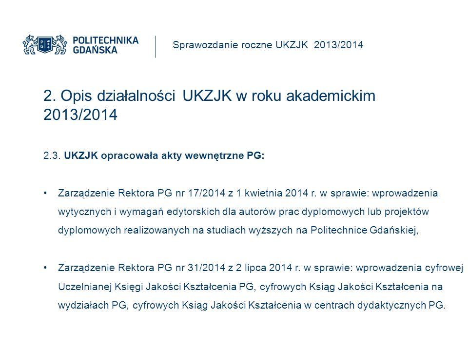 2. Opis działalności UKZJK w roku akademickim 2013/2014 Sprawozdanie roczne UKZJK 2013/2014 2.3.