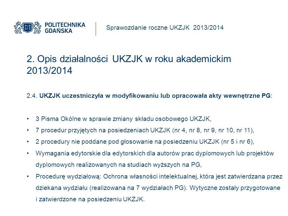 2. Opis działalności UKZJK w roku akademickim 2013/2014 Sprawozdanie roczne UKZJK 2013/2014 2.4.