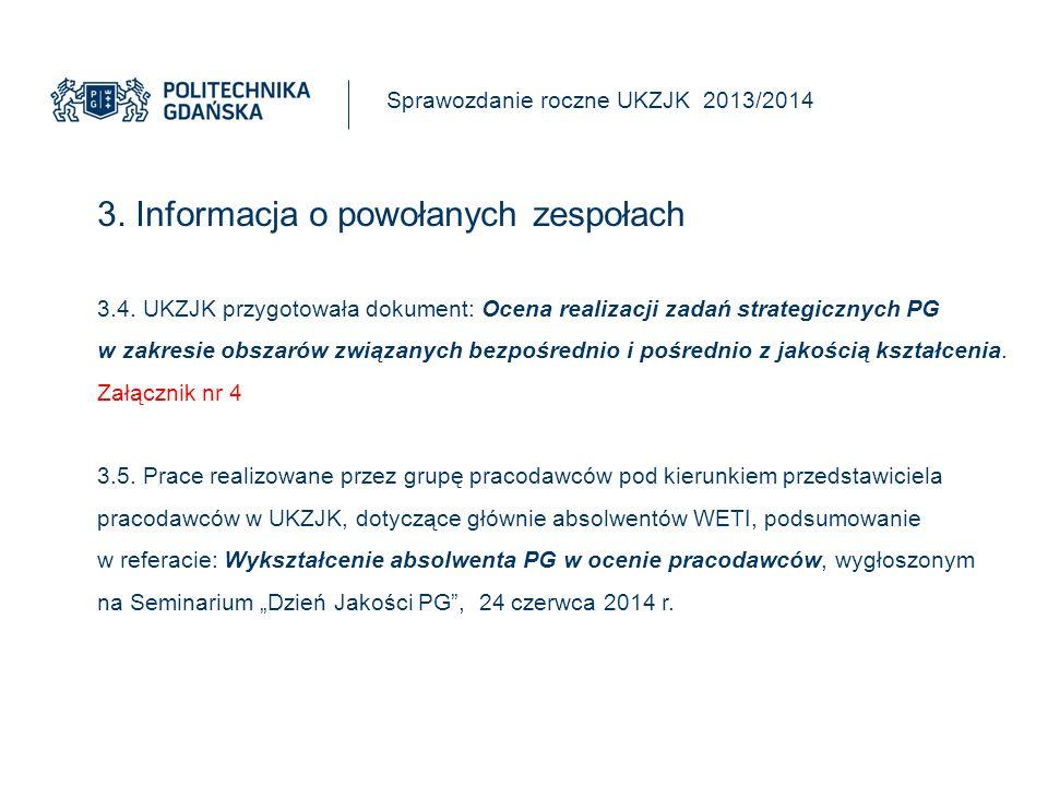 3.Informacja o powołanych zespołach Sprawozdanie roczne UKZJK 2013/2014 3.6.