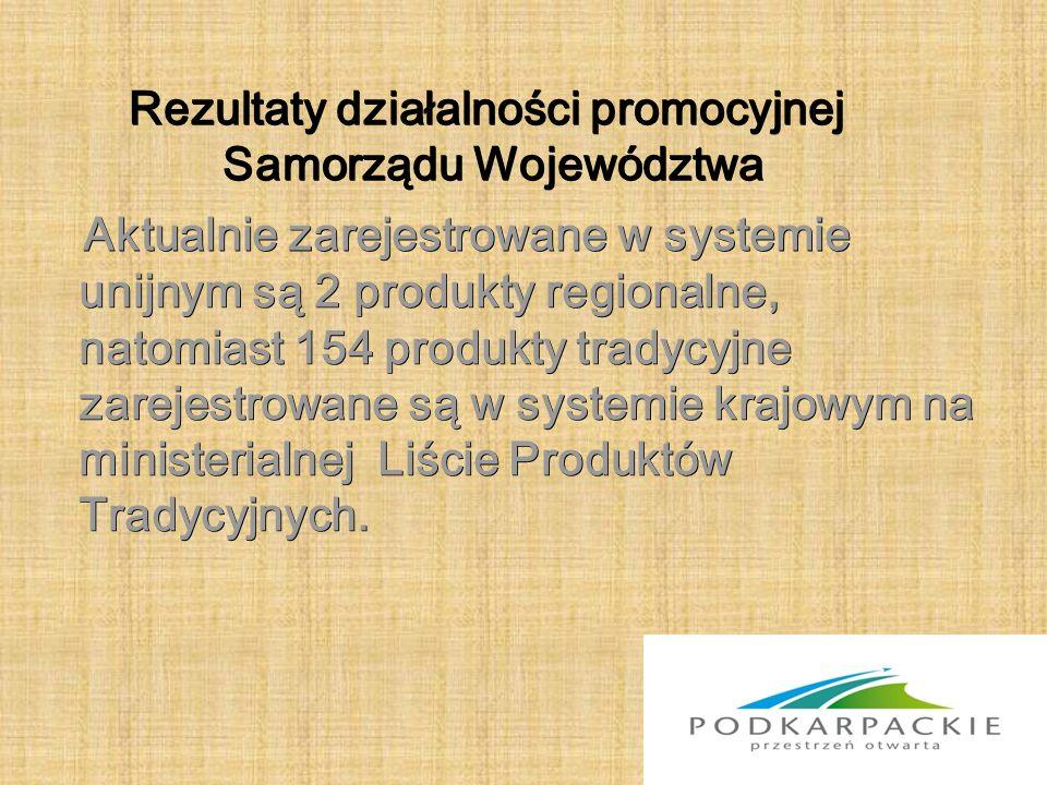 Rezultaty działalności promocyjnej Samorządu Województwa Aktualnie zarejestrowane w systemie unijnym są 2 produkty regionalne, natomiast 154 produkty tradycyjne zarejestrowane są w systemie krajowym na ministerialnej Liście Produktów Tradycyjnych.