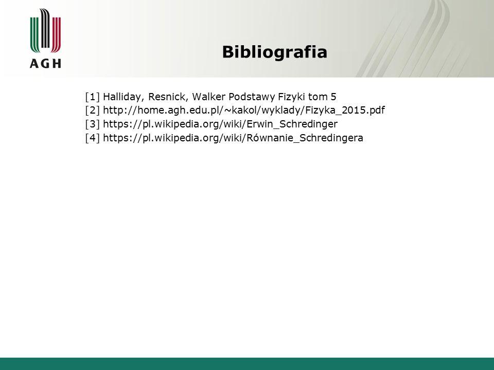 Bibliografia [1] Halliday, Resnick, Walker Podstawy Fizyki tom 5 [2] http://home.agh.edu.pl/~kakol/wyklady/Fizyka_2015.pdf [3] https://pl.wikipedia.org/wiki/Erwin_Schredinger [4] https://pl.wikipedia.org/wiki/Równanie_Schredingera