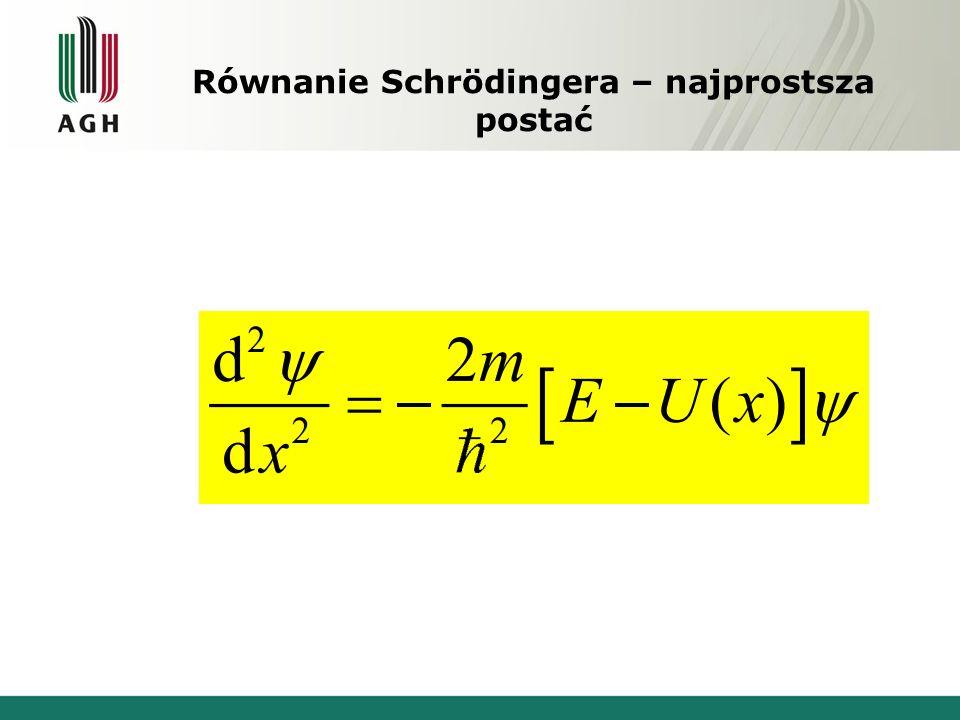 Równanie Schrödingera – najprostsza postać