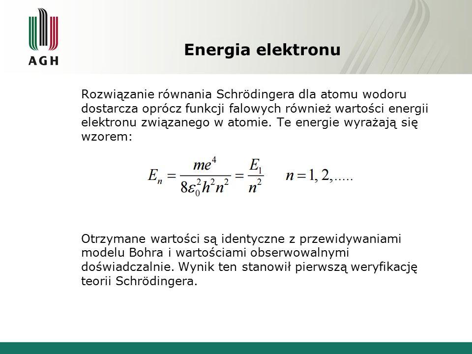 Energia elektronu Rozwiązanie równania Schrödingera dla atomu wodoru dostarcza oprócz funkcji falowych również wartości energii elektronu związanego w atomie.