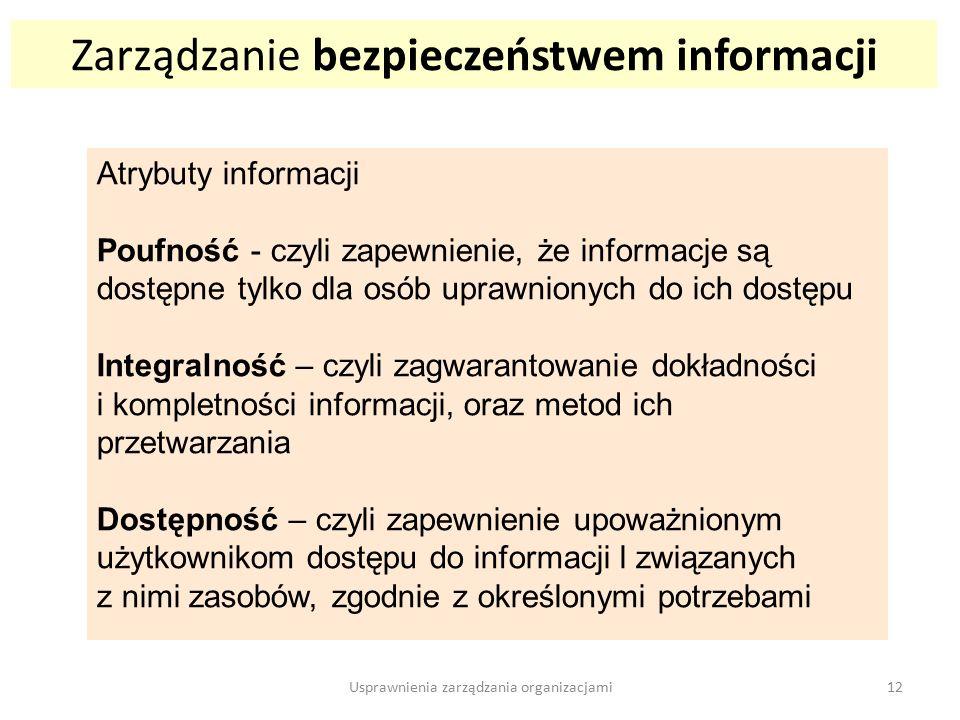 Zarządzanie bezpieczeństwem informacji Atrybuty informacji Poufność - czyli zapewnienie, że informacje są dostępne tylko dla osób uprawnionych do ich dostępu Integralność – czyli zagwarantowanie dokładności i kompletności informacji, oraz metod ich przetwarzania Dostępność – czyli zapewnienie upoważnionym użytkownikom dostępu do informacji l związanych z nimi zasobów, zgodnie z określonymi potrzebami 12Usprawnienia zarządzania organizacjami