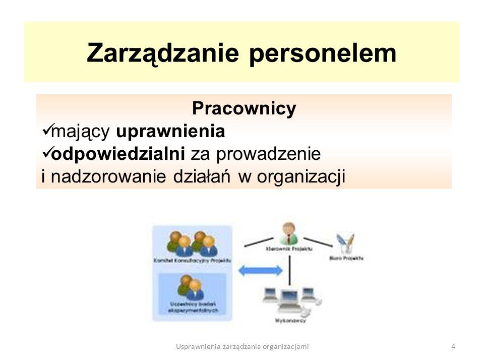Zarządzanie personelem obejmuje komunikowanie się, wewnątrz organizacji z otoczeniem 5Usprawnienia zarządzania organizacjami