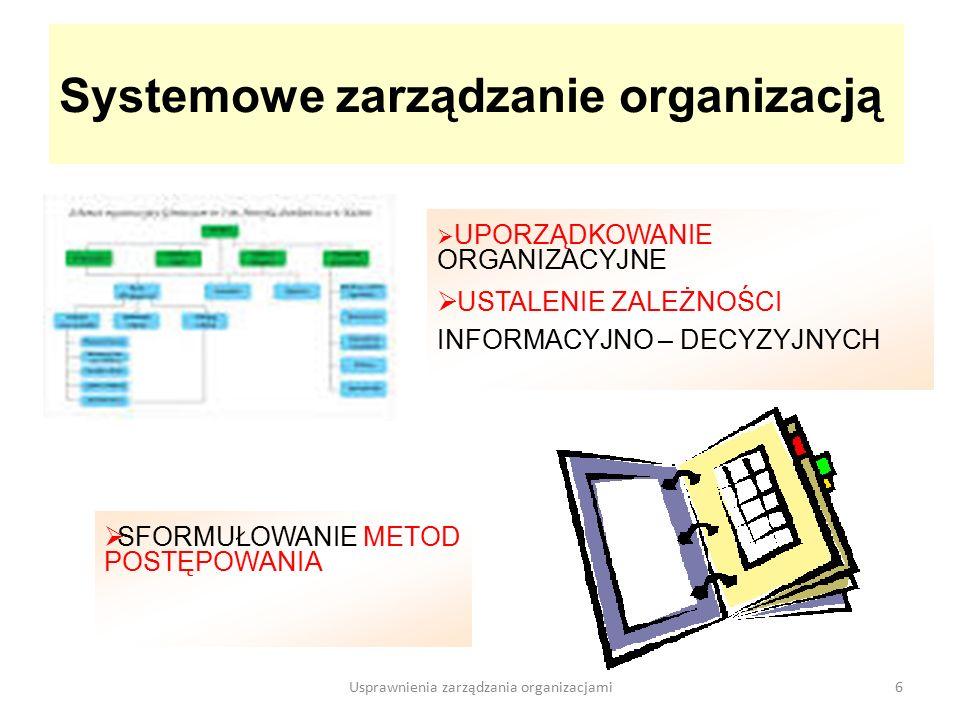  SFORMUŁOWANIE METOD POSTĘPOWANIA Systemowe zarządzanie organizacją 6  UPORZĄDKOWANIE ORGANIZACYJNE  USTALENIE ZALEŻNOŚCI INFORMACYJNO – DECYZYJNYCH Usprawnienia zarządzania organizacjami