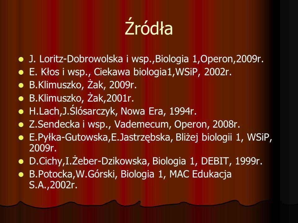 Źródła J. Loritz-Dobrowolska i wsp.,Biologia 1,Operon,2009r.