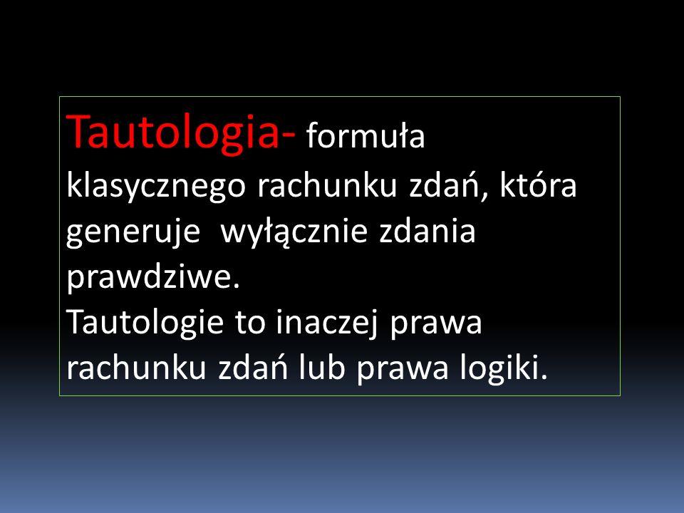 Tautologia- formuła klasycznego rachunku zdań, która generuje wyłącznie zdania prawdziwe.