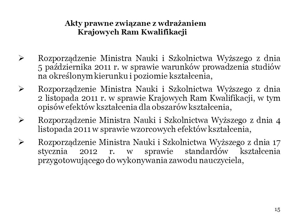 Akty prawne związane z wdrażaniem Krajowych Ram Kwalifikacji  Rozporządzenie Ministra Nauki i Szkolnictwa Wyższego z dnia 5 października 2011 r.