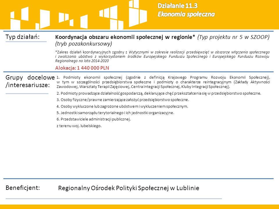 Typ działań: Koordynacja obszaru ekonomii społecznej w regionie* (Typ projektu nr 5 w SZOOP) (tryb pozakonkursowy) *Zakres działań koordynacyjnych zgodny z Wytycznymi w zakresie realizacji przedsięwzięć w obszarze włączenia społecznego i zwalczania ubóstwa z wykorzystaniem środków Europejskiego Funduszu Społecznego i Europejskiego Funduszu Rozwoju Regionalnego na lata 2014-2020 Alokacja: 1 440 000 PLN Grupy docelowe /interesariusze: 1.