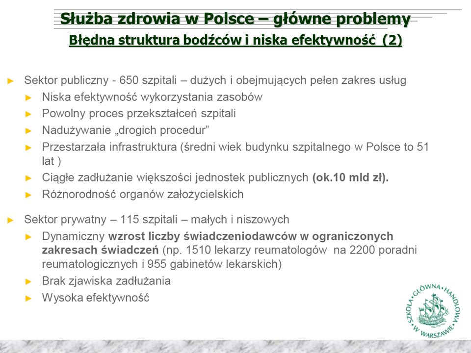 Służba zdrowia w Polsce – główne problemy Błędna struktura bodźców i niska efektywność (2)
