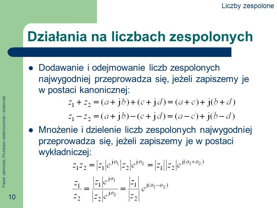 Paweł Jabłoński, Podstawy elektrotechniki i elektroniki 10 Działania na liczbach zespolonych Dodawanie i odejmowanie liczb zespolonych najwygodniej pr