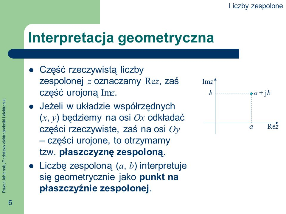 Paweł Jabłoński, Podstawy elektrotechniki i elektroniki 7 Moduł liczby zespolonej Długość odcinka pomiędzy punktem ( a, b ) a początkiem układu współrzędnych nazywamy modułem liczby zespolonej a + jb i oznaczamy | a + jb |.