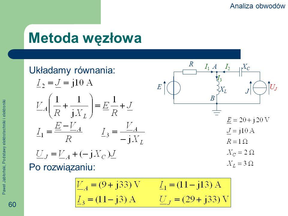 Paweł Jabłoński, Podstawy elektrotechniki i elektroniki 60 Metoda węzłowa Układamy równania: Po rozwiązaniu: R E J XCXC XLXL I1I1 I2I2 I3I3 UJUJ A B A