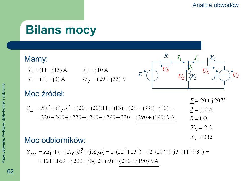 Paweł Jabłoński, Podstawy elektrotechniki i elektroniki 62 Bilans mocy Mamy: Moc źródeł: Moc odbiorników: R E J XCXC XLXL I1I1 I2I2 I3I3 URUR ULUL UCU