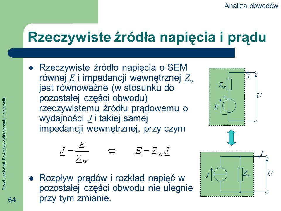 Paweł Jabłoński, Podstawy elektrotechniki i elektroniki 64 Rzeczywiste źródła napięcia i prądu Rzeczywiste źródło napięcia o SEM równej E i impedancji