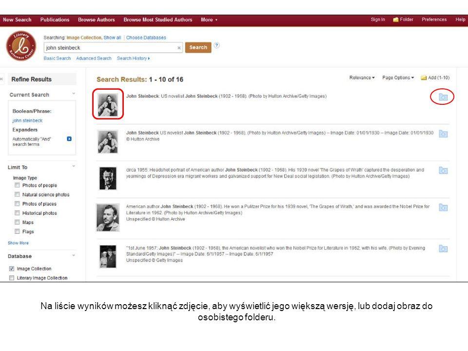 Na liście wyników możesz kliknąć zdjęcie, aby wyświetlić jego większą wersję, lub dodaj obraz do osobistego folderu.