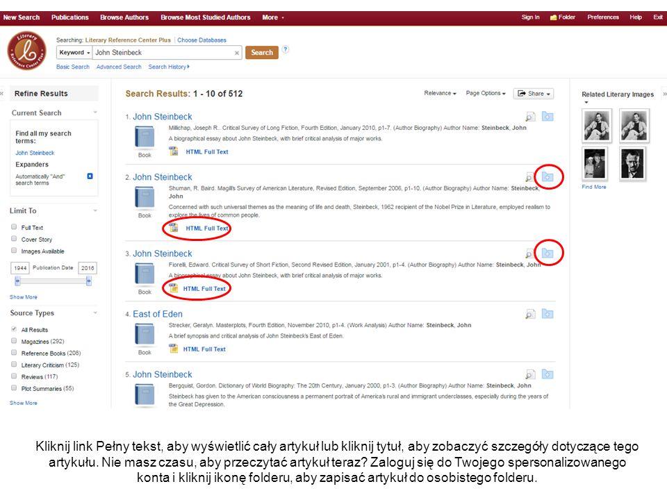 Kliknij link Pełny tekst, aby wyświetlić cały artykuł lub kliknij tytuł, aby zobaczyć szczegóły dotyczące tego artykułu.